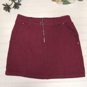 Forever 21 Burgandy Denim Mini Skirt